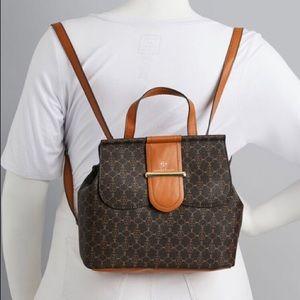 Nanette Lepore Vegan Brown Logo Backpack Bag NWOT